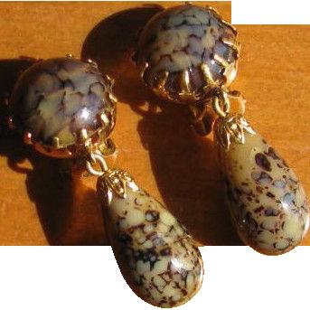 Art Glass Dangle Earrings West Germany Vintage