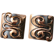 Vintage Modernist Square Copper Swirl Earrings