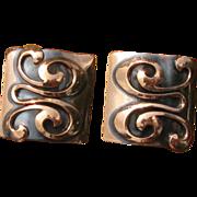 Vintage Modernist Square Copper Swirl Earrings