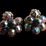 Vintage 1960's Black Glass AB Finish Cluster Earrings