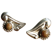 Vintage 1930's Mexican Silver Heart Earrings