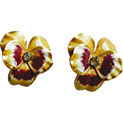 Vintage 1950s Floral Enamel and Rhinestone Pansy Earrings