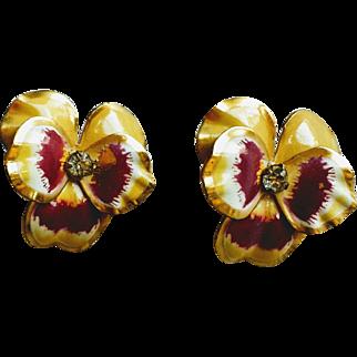 Vintage 1950's Floral Enamel and Rhinestone Pansy Earrings