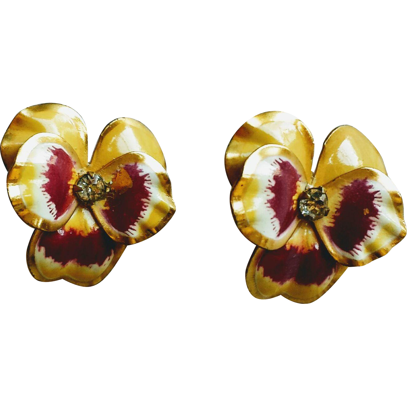 Vintage 1950's Floral Enamel and Rhinestone Pansy Earrings