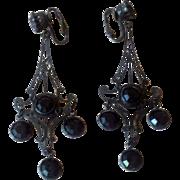 Vintage Black Crystal Chandelier Dangle Earrings
