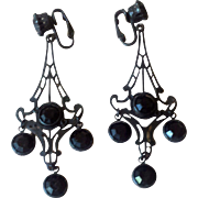Vintage Black Crystal Chandelier Dangle Earrings
