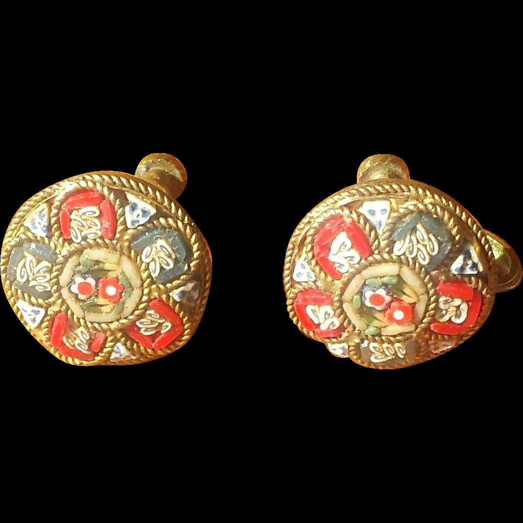 Vintage Micro Mosaic Earrings - Italy