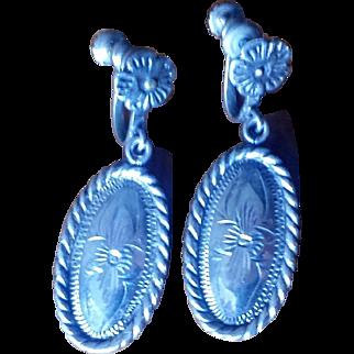 Vintage 1940s Chased Sterling Silver Dangle Earrings