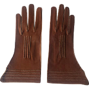 Vintage Brown Leather Ladies Driving Gloves - Made in Italy