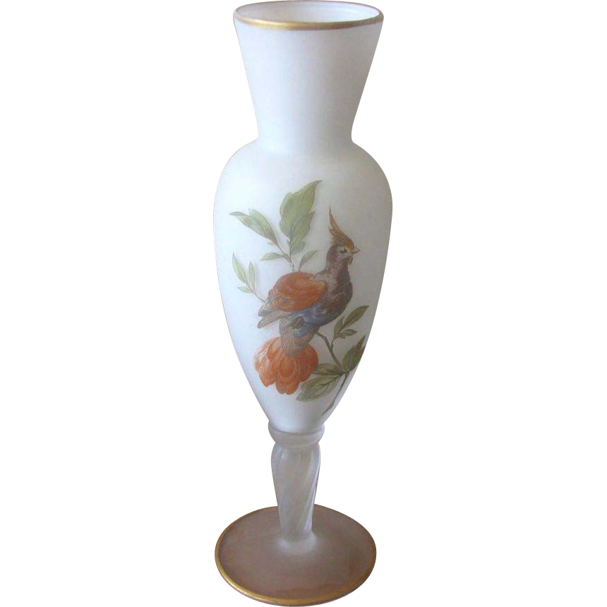 Mid Century Norleans Japan White Satin Glass Bird Vase