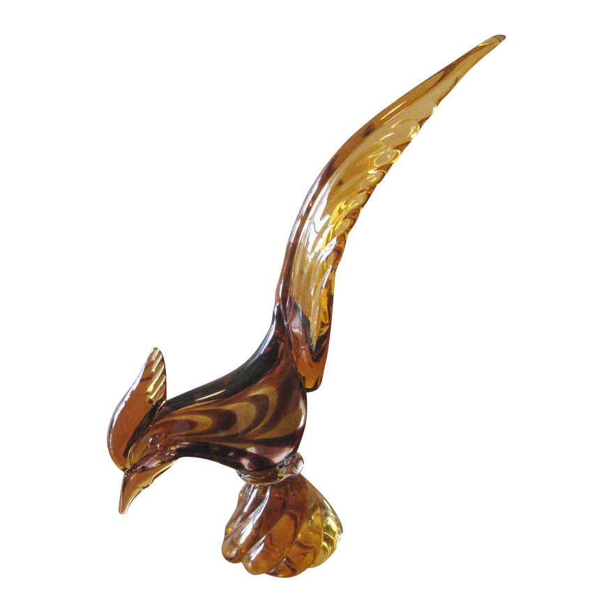 Vintage 1970 JI Co Murano Art Glass Pheasant