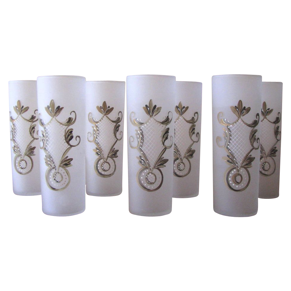 1950's Frosted Hand Painted Collins Glasses from Federal Glass - Set of 7