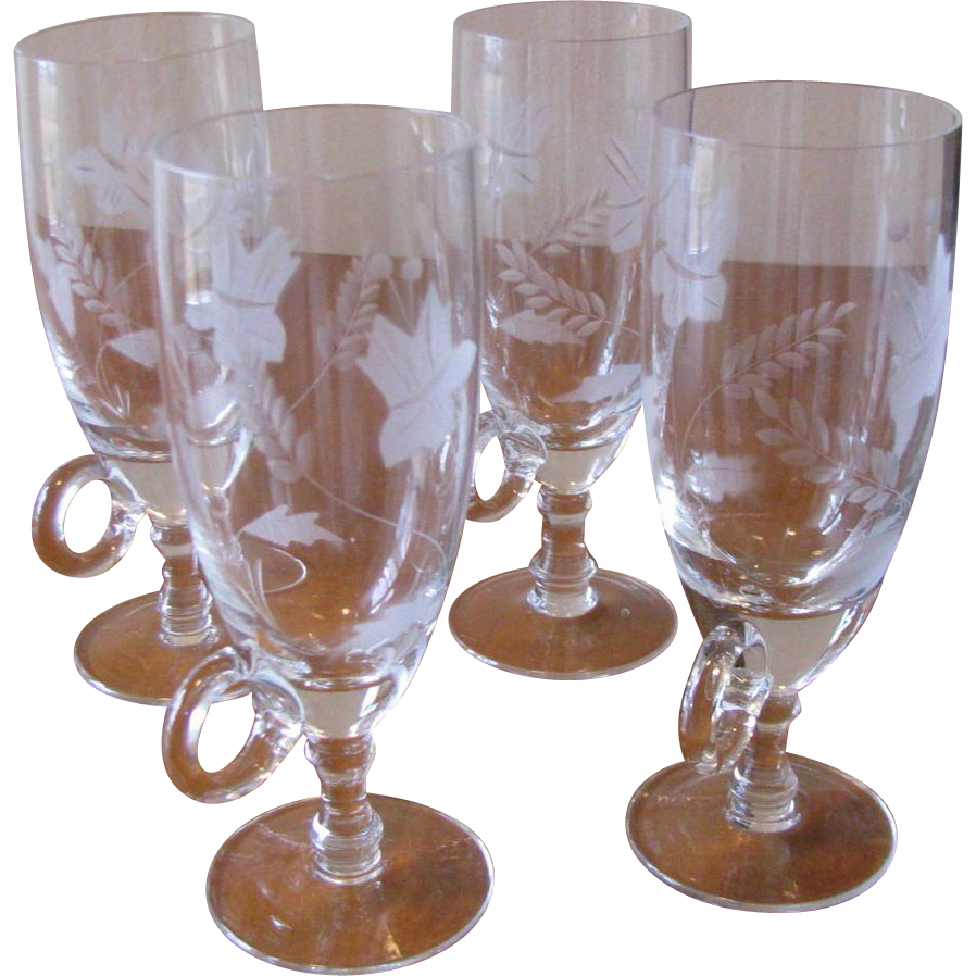 Vintage Crystal Irish Coffee Glasses Etched with Handle - Set of 4
