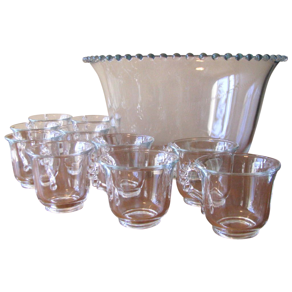 Vintage Imperial Glass Candlewick Punch Bowl Set - 11 Piece