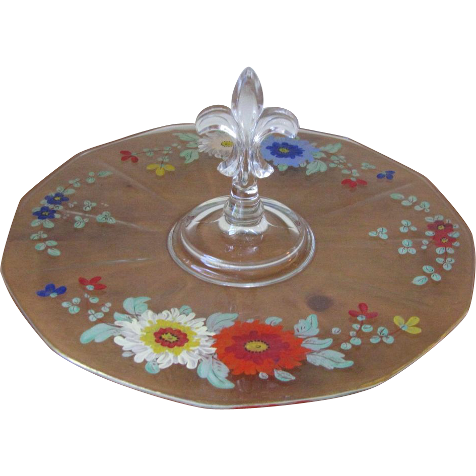 Vintage Hand Painted Fleur de Lis Handled Glass Serving Tray