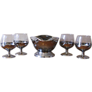 Mid Century Chrome / Silver Fade Snifter Glasses with Matching Nut Bowl