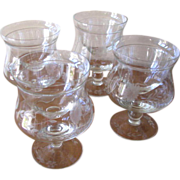 Vintage 1950's Floral Etch Crystal Shrimp Cocktail Glasses or Icers with Inserts - Set of 4