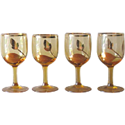 Vintage Gold Trim Leaf Motif Amber Cordial Glasses - Set of 4