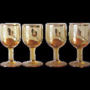 Vintage Gold Trim Leaf Motif Amber Cordial Glasses - Set of 4