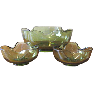 Vintage 1970's Accent Modern Green Glass Bowl and Candlestick Set from Anchor Hocking