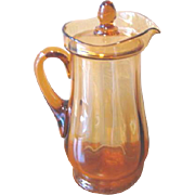 Vintage Amber Glass Lidded Lemonade Pitcher