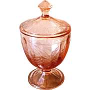 Vintage 1930s Pink Floral Poinsettia Pattern Depression Glass Covered Jar