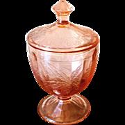 Vintage 1930s Pink Floral Pattern Depression Glass Covered Jar
