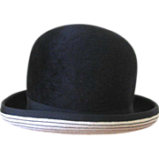 Vintage 1960's Adolfo Realities Black and White Bowler Hat