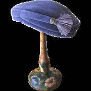 Vintage 1950s Ladies Periwinkle Blue Felt Hat with Feathered Side Tassel
