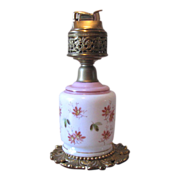 Vintage Evans Pink Floral Glass and Brass Ornamental Table Lighter