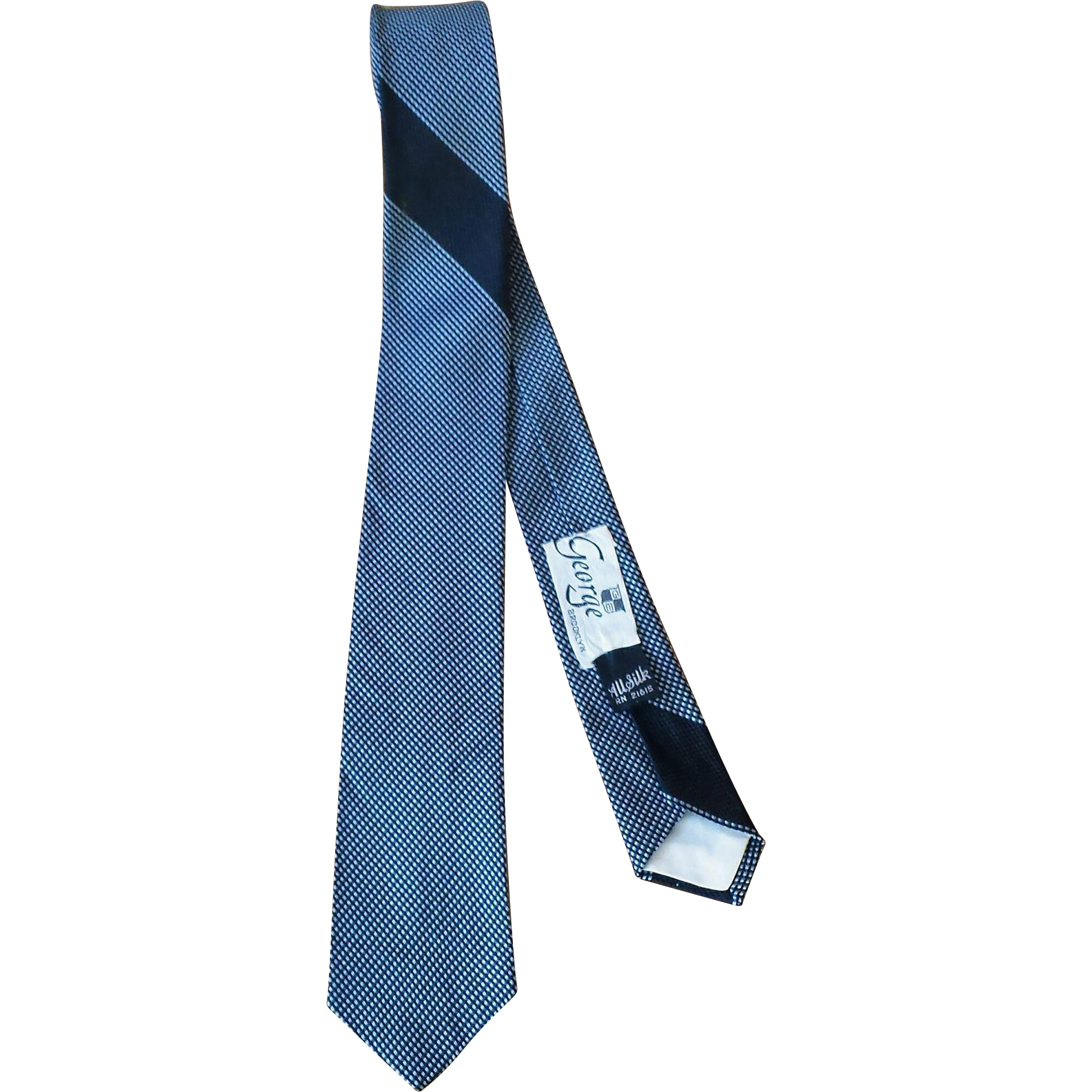 Vintage 1960's Gray and Black Silk Men's Skinny Tie from George of Brooklyn