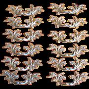Vintage Ornate Leaf Design Brass Reclaimed Hardware Drawer Pulls or Handles - Set of 12