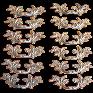 Vintage Ornate Leaf Design Brass Drawer Pull or Handle