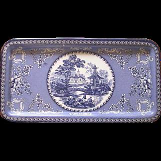 Vintage Daher Blue Asian Floral Metal Serving Tray