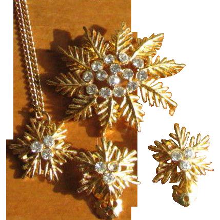 Vintage 1960's Snowflake Rhinestone Demi Parure - Necklace, Brooch & Earrings from Jeweline Originals