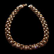 Vintage Goldtone Square Link Rhinestone Necklace