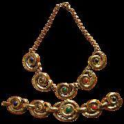Vintage P&M Paris Hammered Circle Design Necklace & Bracelet Set
