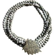 Vintage Gray Jasper Bead Torsade Necklace with Etched Leaf Clasp