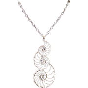 Vintage Danecraft Large Swirl Pendant Necklace