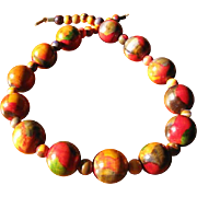 Vintage 1970's Painted Wood Bead Necklace