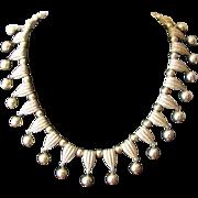 Vintage 1950's Crown Trifari Dangle Collar Choker Necklace in Goldtone