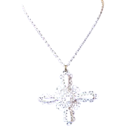Vintage 1960's / 1970's Crown Trifari White Scroll Cross Pendant Necklace