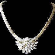 Vintage 1980's Trifari Rhinestone Statement Choker Necklace