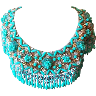 Vintage Sky Blue and Rhinestone Beaded Collar Necklace