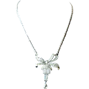 Vintage 1940s Coro Rhinestone Bow Pendant Dangle Choker Necklace
