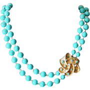 Vintage Blue Beaded Long Double Strand Necklace with Decorative Bow Clasp