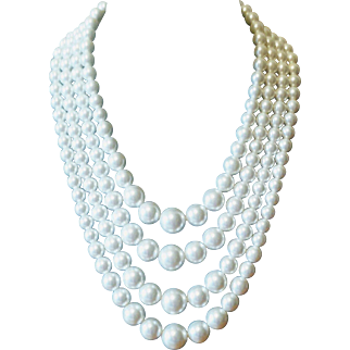 Vintage 1950s Multi Strand White Beaded Faux Pearl Necklace