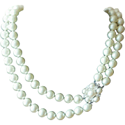 Vintage 1950s Marvella Double Strand White Faux Pearl Necklace with Decorative Rhinestone Clasp