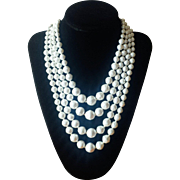 Vintage 1960s Four Strand Baroque Style Faux Pearl Necklace