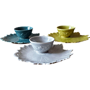 Vintage 1940s Teacup and Snackplate Sets from Steubenville Pottery Woodfield Pattern - 6 Piece